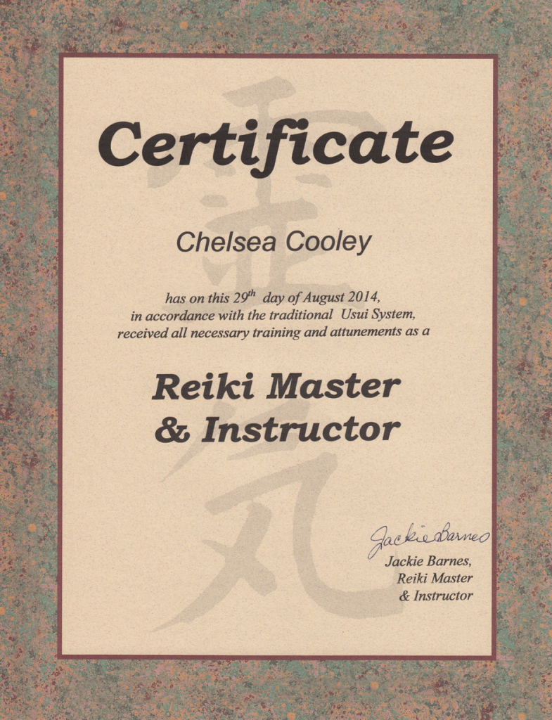 Reiki Master and Instructor Certificate